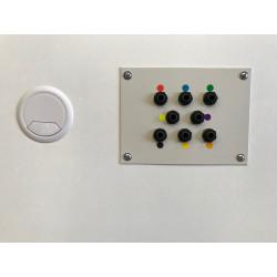 Placa de 8 conexiones audiómetro y pasacables cabina audiométrica